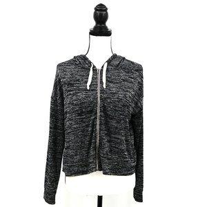 AEO Cropped Boxy Marled Black & White Zip Hoodie